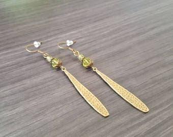 Long green drop Earrings