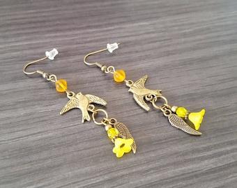 Yellow flower bird Earrings