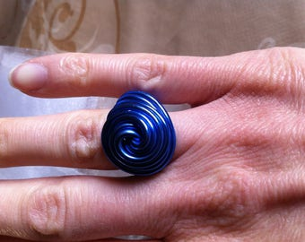 snail shape blue aluminium ring