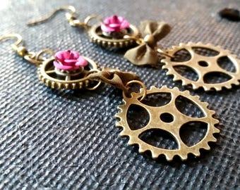 Victorian steampunk style earrings pink