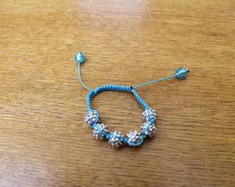 Blue Bead shamballa bracelet blue and silver