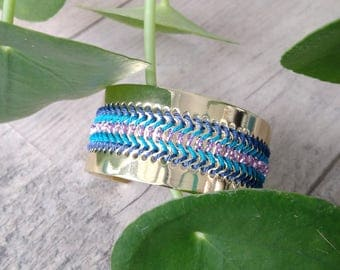 Plated Cuff Bracelet weaving and miyuki beads