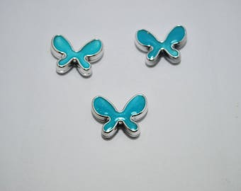 Glittery blue butterfly resin beads