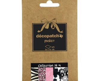 Set of 5 paper Decopatch 30 x 40 cm - Pocket Collection number 9 - Ref DP009
