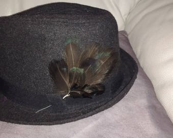 Brooch or hat feather plume of pheasant dark iridescent blue green black