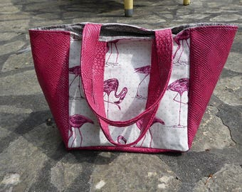 Pink flamingos bag and faux leather