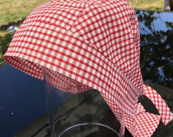 Privateers and Pirates: Hat/scarf in red gingham cotton