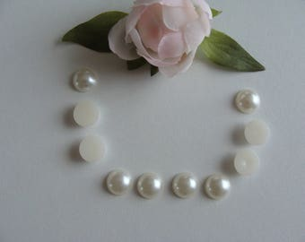 Set of 10 White Pearl 12 mm flat back cabochons