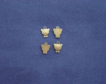 4 small bear charms in antique bronze