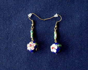 Blue cloisonne beads bronze earrings