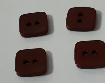 set of 4 square buttons 2 holes Burgundy bright 11 x 11 mm scrapbooking