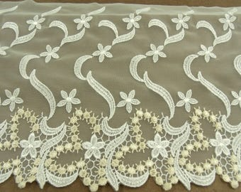 CALAIS lace - Embroidered on mesh - 20 cm / ecru cm-9