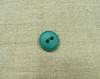 Acrylic button with 2 holes - 15 mm - Green