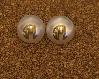 Pearl monogram Earrings