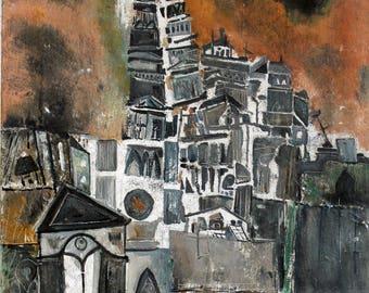 R.V. Petrillo, Latin-American Cityscape, 1963 oil on canvas