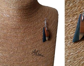 Wood earrings / slate