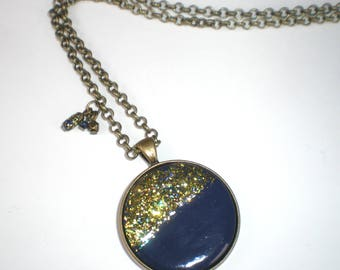 Blue round Medallion necklace and gold glitter