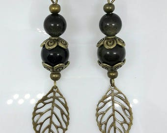 Earrings - antique Bronze - Golden Obsidian natural stones