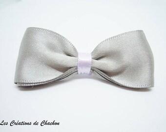 Bow alligator hair clip purple and gray satin fabric