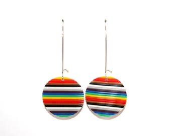 Round earrings multicolored recycled electronic wires