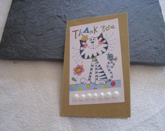 Small greeting card, modern cat, flowers, bird, kraft paper, thank you, Thank you