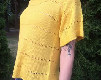 Sunny Yellow Knitted T-short Summer Top Woman T-Short