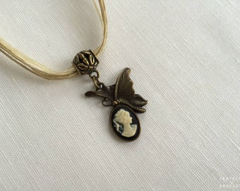 Necklace retro romantic organza: Butterfly cameo and bronze