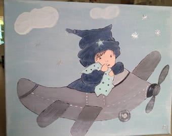 decorative painting done in acrylic paint for little boy's room!