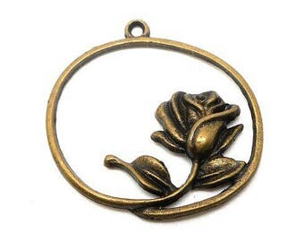 Bronze rose flower round charm