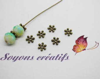 50 beads Intercalaires snowflake Bronze 8 mm - jewelry - SC12770 creation-