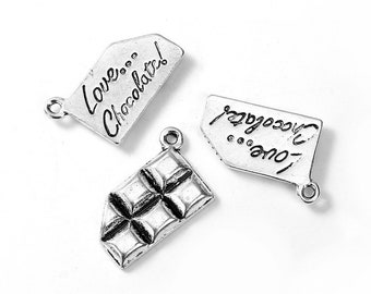 5 bar chocolate 24x17mm - creating jewelry - silver charms