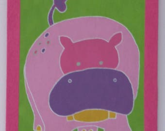 Painting on wood pink hippo
