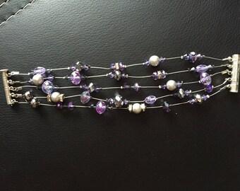 Purple and gray swarovski pearl bracelet