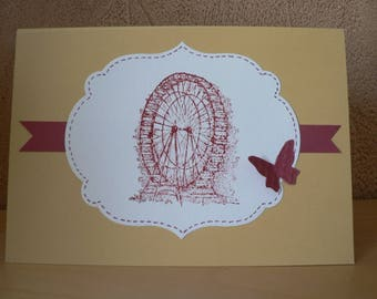 vintage style card mill and butterflies