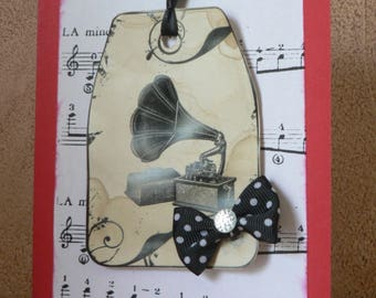 vintage record player mother's Day card