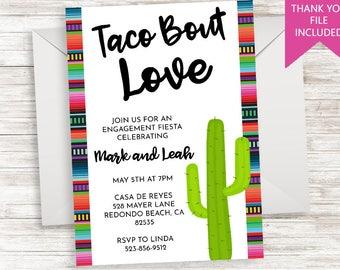 Taco Bout Love Engagement Invitation Party Invite Digital 5x7 Serape Cactus Fiesta Engaged Bridal Shower