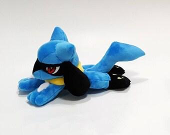 Pokemon laying down - Riolu custom plush - ready to be shipped