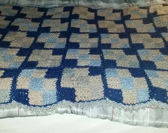 "Crocheted blue and tan bulky yarn throw 55"" x 70"""