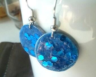 bright blue and cornflower blue/glitter earrings earrings