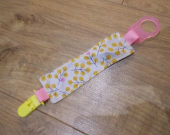 """cherry blossom"" dummy/pacifier clip for pacifier with or without ring"