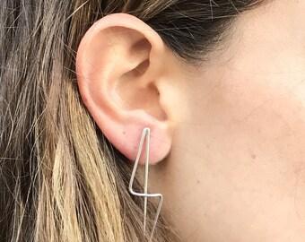 Twisted stud earrings, Dangle & Drop, Silver twisted earrings, Minimalist twisted earrings, Minimal earrings, Stud silver earrings