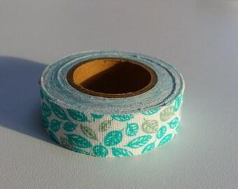 3.50 meters of masking tape ruban sticker green leaves