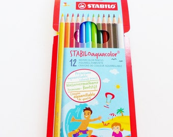 12 brightly colored watercolor coloring pencils Stabilo watercolor pencils