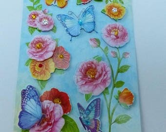 sheet of stickers 3D flower and Butterfly embossed with Rhinestones