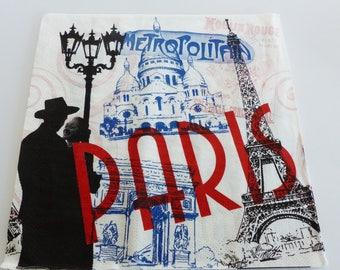 6 Paris love Eiffel Tower Notre Dame napkin Arc de Triomphe Metro 33 X 33 cm napskin