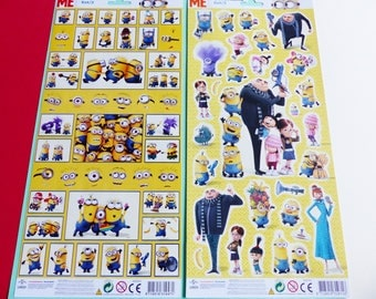 2 large stickers boards Minions Despicable me stickers glitter and silver edge