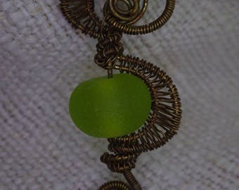 Bronze pendant, made from wire woven with handmade glass bead (sand polished)