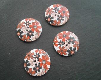 button wood flower 40mm