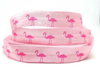 Ribbon elastic hair ties bracelet diy pink Flamingo hair accessories