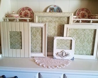 Antique white PICTURE FRAMES-frame set-wall gallery-vintage style-shabby Chic wedding-nursery-home-photo-collection-Glass Backing